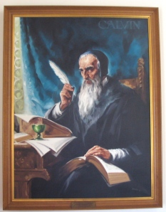John Calvin oil painting (NY, late 1900\'s)